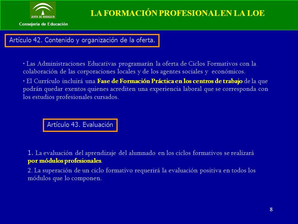 9 Consejería de Educación LA FORMACIÓN PROFESIONAL EN LA LOE TITULACIONES: TÉCNICO y TÉCNICO SUPERIOR.