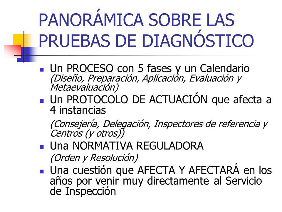 PANORÁMICA SOBRE LAS PRUEBAS DE DIAGNÓSTICO Un PROCESO con 5 fases y un Calendario (Diseño, Preparación, Aplicación, Evaluación y Metaevaluación) Un P
