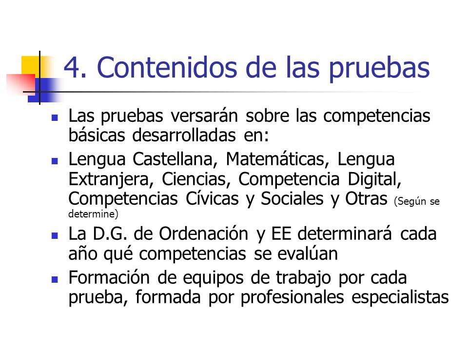 4. Contenidos de las pruebas Las pruebas versarán sobre las competencias básicas desarrolladas en: Lengua Castellana, Matemáticas, Lengua Extranjera,
