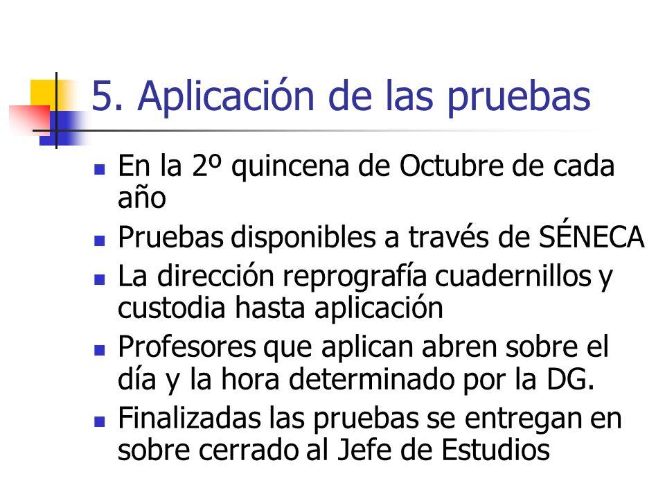 5. Aplicación de las pruebas En la 2º quincena de Octubre de cada año Pruebas disponibles a través de SÉNECA La dirección reprografía cuadernillos y c