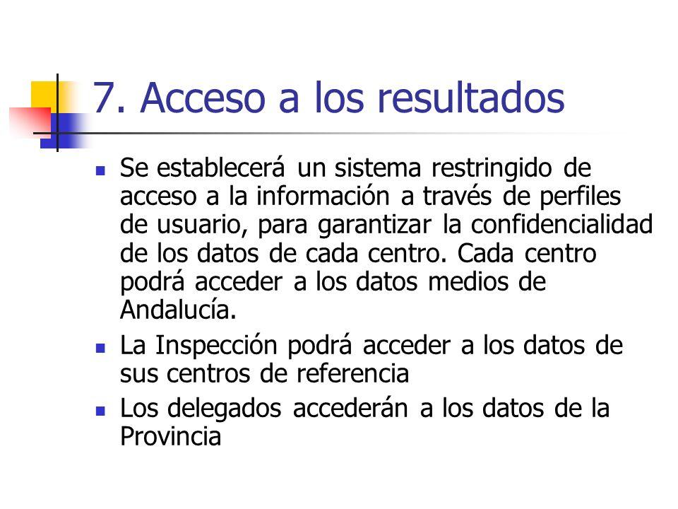 7. Acceso a los resultados Se establecerá un sistema restringido de acceso a la información a través de perfiles de usuario, para garantizar la confid