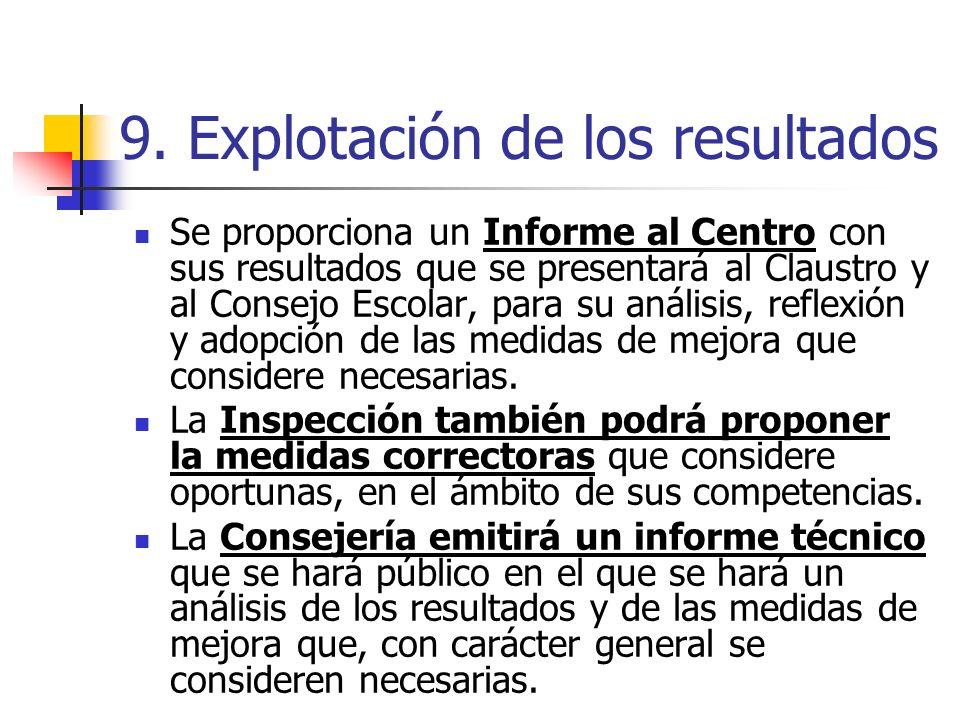 9. Explotación de los resultados Se proporciona un Informe al Centro con sus resultados que se presentará al Claustro y al Consejo Escolar, para su an