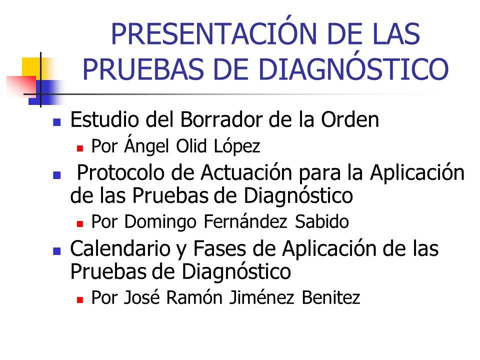 PRESENTACIÓN DE LAS PRUEBAS DE DIAGNÓSTICO Estudio del Borrador de la Orden Por Ángel Olid López Protocolo de Actuación para la Aplicación de las Prue