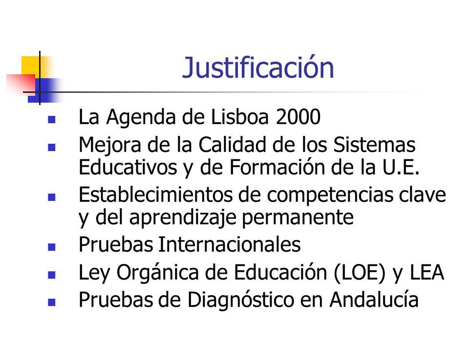 Justificación La Agenda de Lisboa 2000 Mejora de la Calidad de los Sistemas Educativos y de Formación de la U.E. Establecimientos de competencias clav