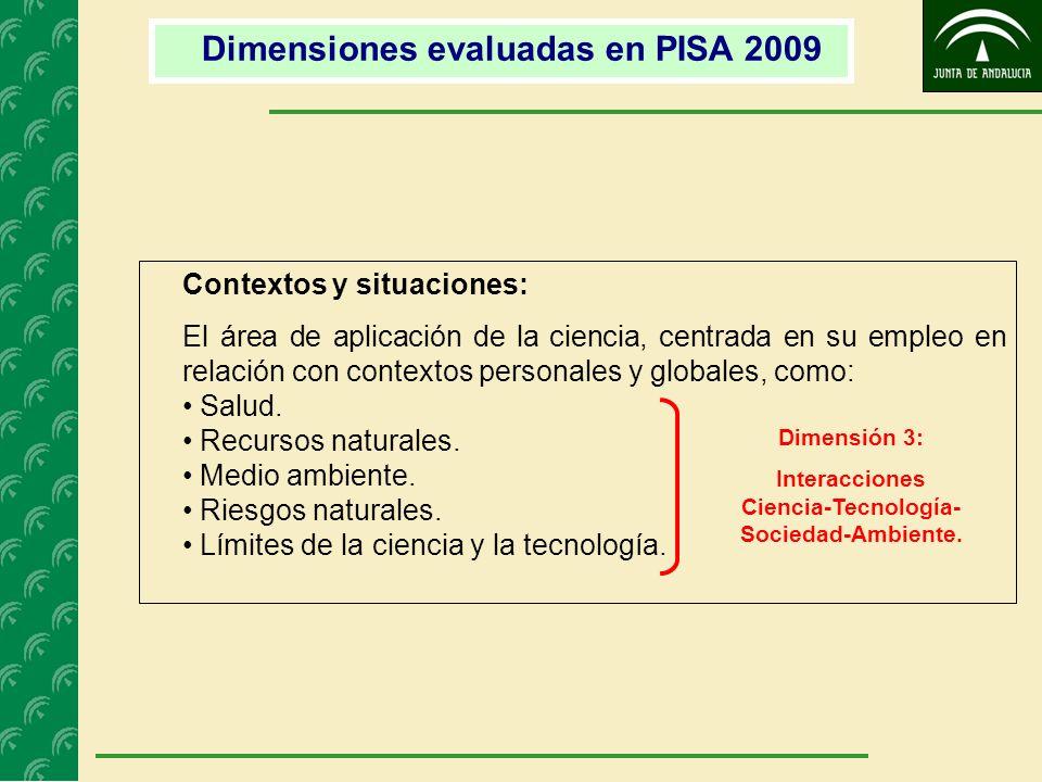 Contextos y situaciones: El área de aplicación de la ciencia, centrada en su empleo en relación con contextos personales y globales, como: Salud. Recu