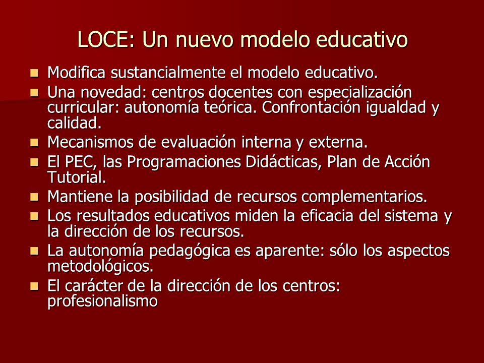 LOCE: Un nuevo modelo educativo Modifica sustancialmente el modelo educativo.