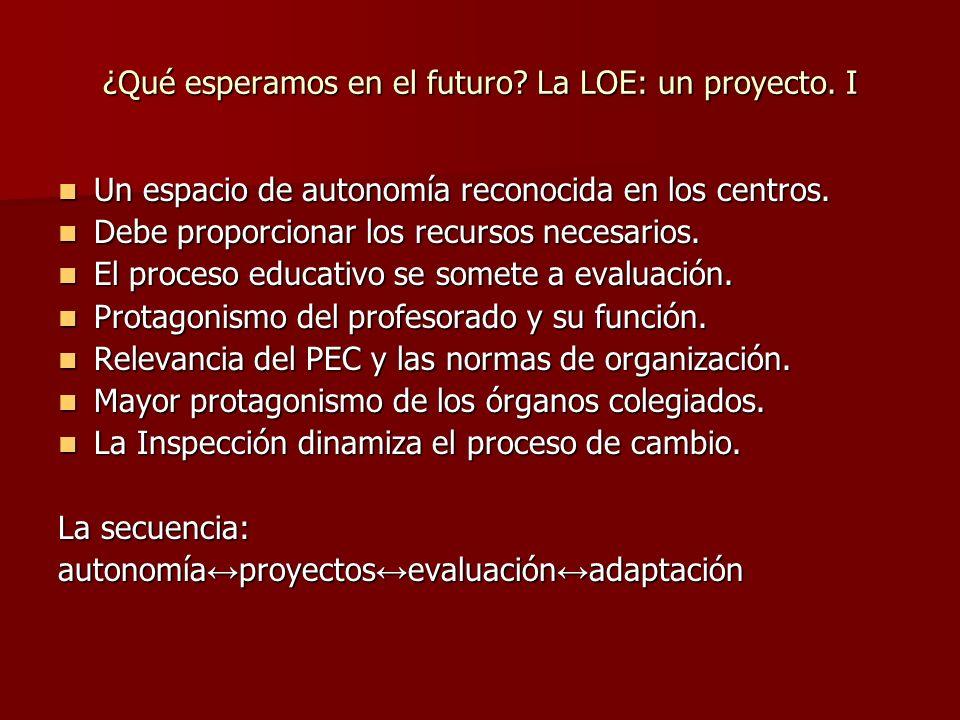 ¿Qué esperamos en el futuro.La LOE: un proyecto.