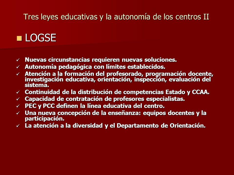 Tres leyes educativas y la autonomía de los centros II LOGSE LOGSE Nuevas circunstancias requieren nuevas soluciones.