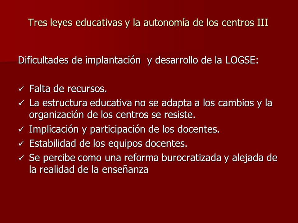 Tres leyes educativas y la autonomía de los centros III Dificultades de implantación y desarrollo de la LOGSE: Falta de recursos.