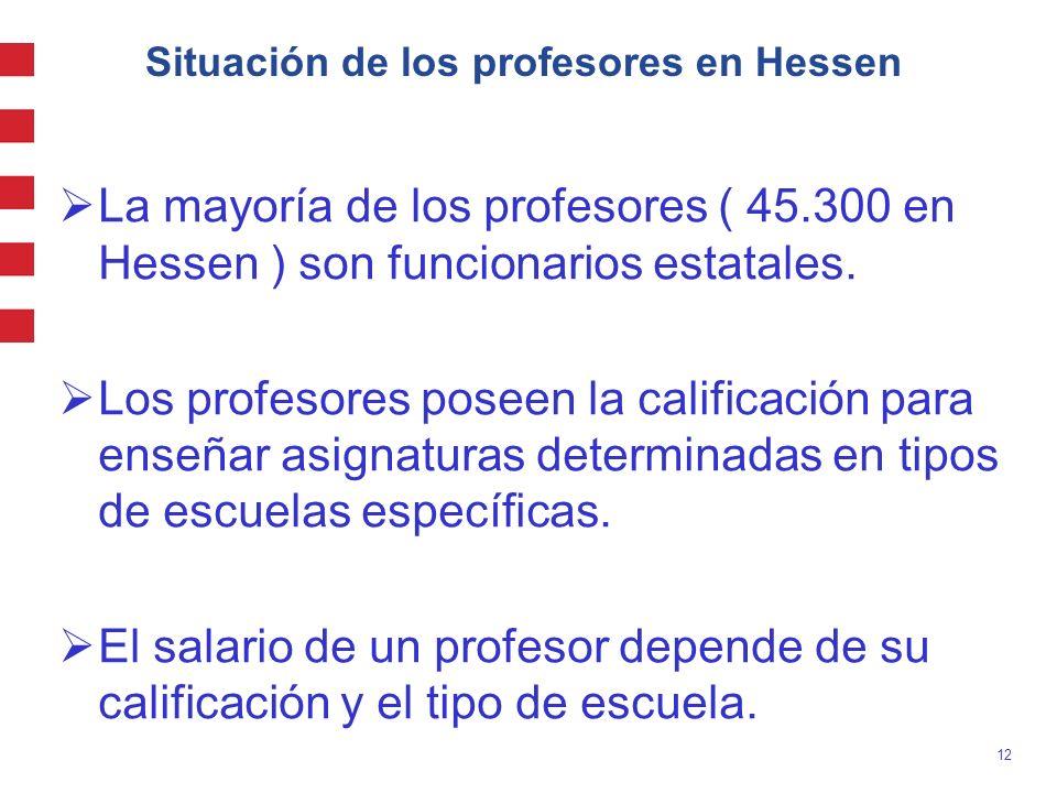 12 Situación de los profesores en Hessen La mayoría de los profesores ( 45.300 en Hessen ) son funcionarios estatales. Los profesores poseen la califi