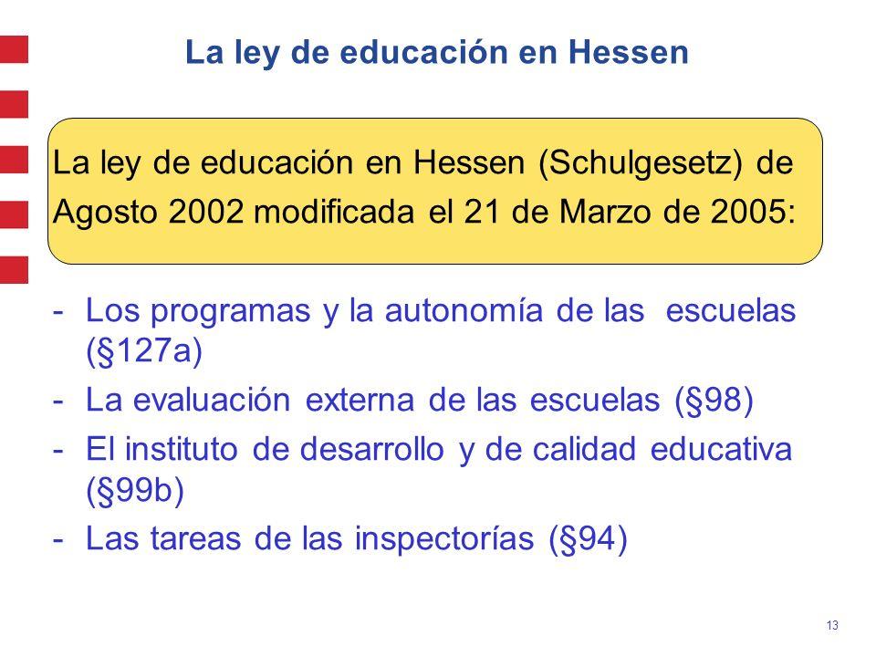 13 La ley de educación en Hessen La ley de educación en Hessen (Schulgesetz) de Agosto 2002 modificada el 21 de Marzo de 2005: -Los programas y la aut