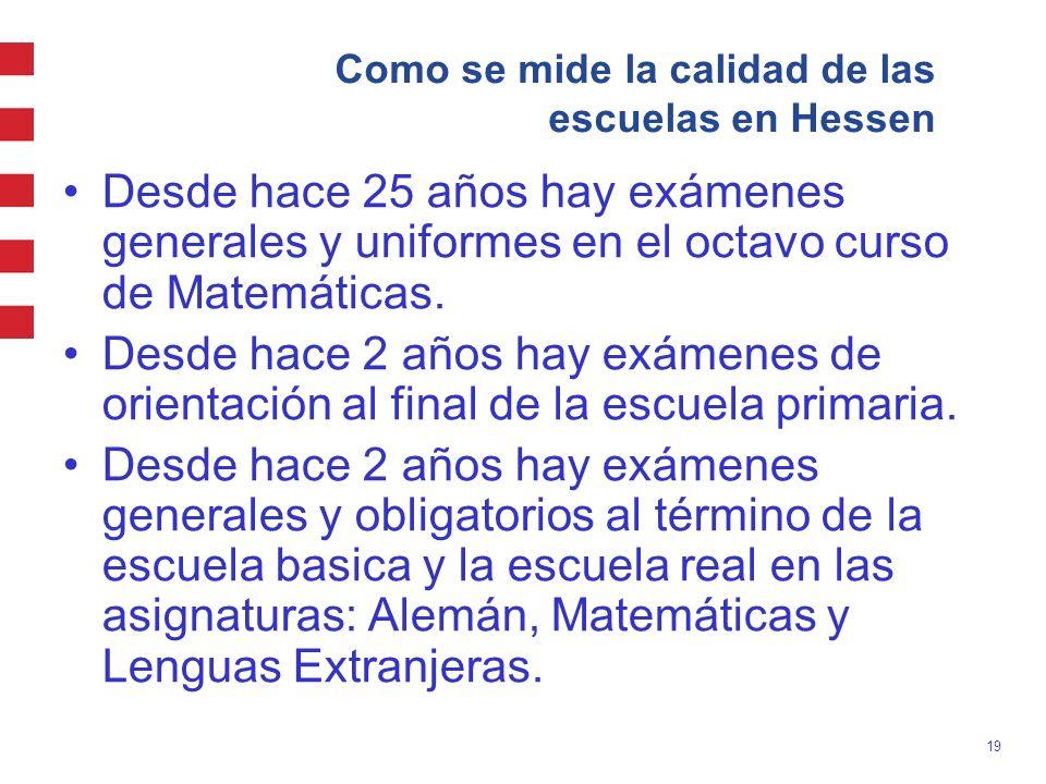 19 Como se mide la calidad de las escuelas en Hessen Desde hace 25 años hay exámenes generales y uniformes en el octavo curso de Matemáticas. Desde ha