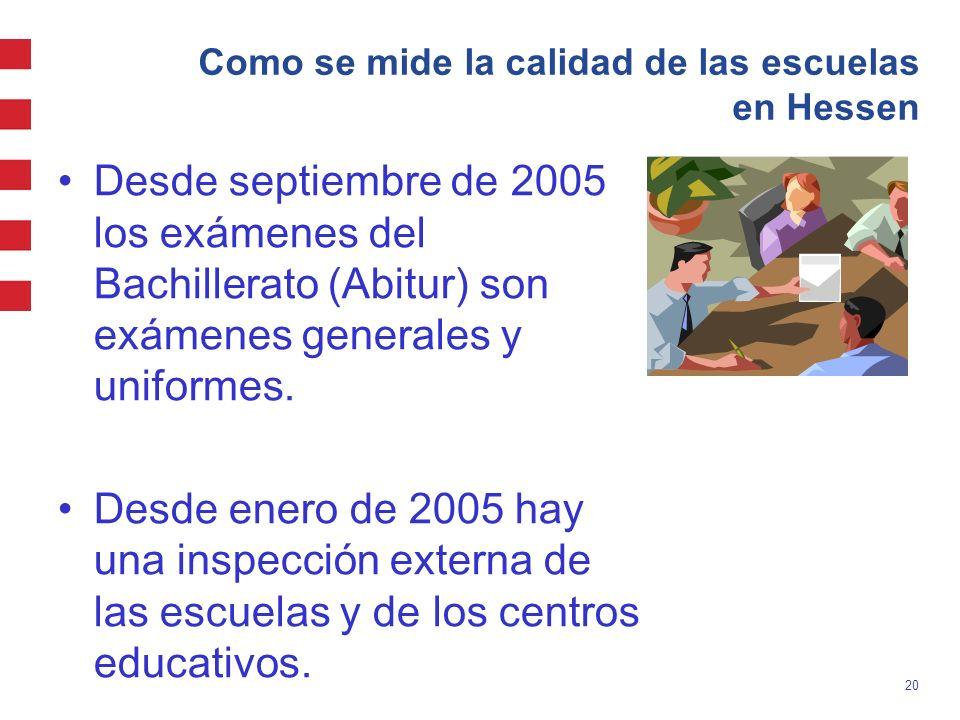 20 Como se mide la calidad de las escuelas en Hessen Desde septiembre de 2005 los exámenes del Bachillerato (Abitur) son exámenes generales y uniforme