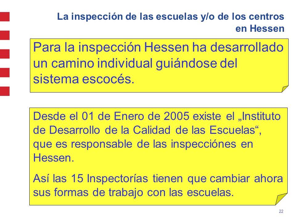 22 La inspección de las escuelas y/o de los centros en Hessen Para la inspección Hessen ha desarrollado un camino individual guiándose del sistema esc