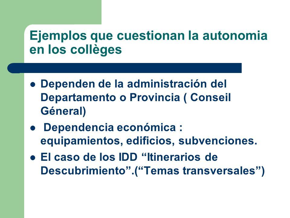 Ejemplos que cuestionan la autonomia en los collèges Dependen de la administración del Departamento o Provincia ( Conseil Géneral) Dependencia económi