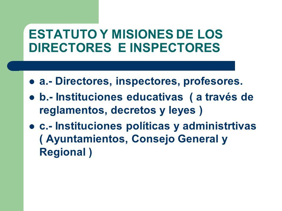ESTATUTO Y MISIONES DE LOS DIRECTORES E INSPECTORES a.- Directores, inspectores, profesores. b.- Instituciones educativas ( a través de reglamentos, d