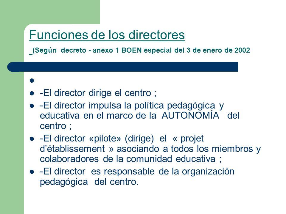 Funciones de los directores (Según decreto - anexo 1 BOEN especial del 3 de enero de 2002 -El director dirige el centro ; -El director impulsa la polí