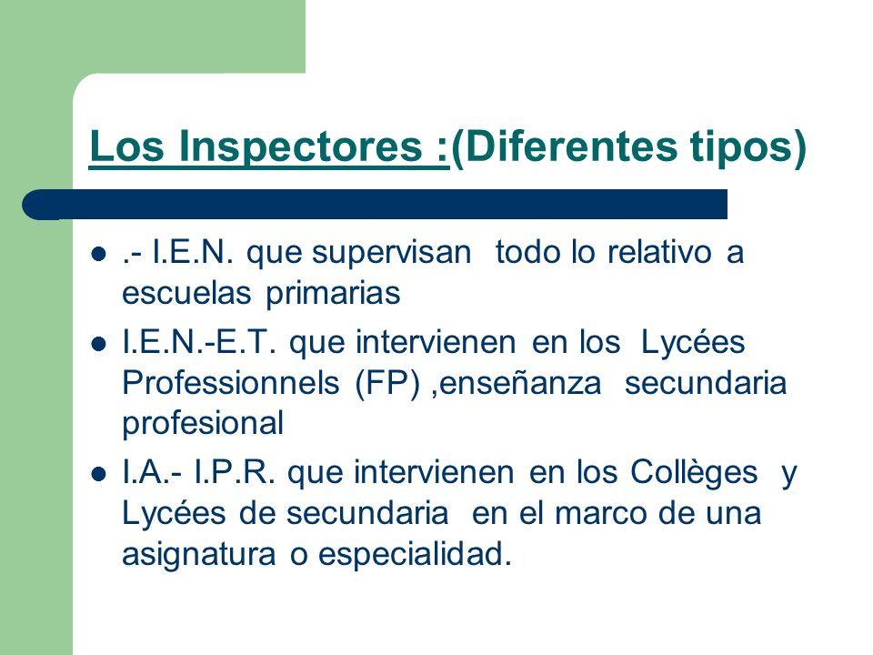 Los Inspectores :(Diferentes tipos).- I.E.N. que supervisan todo lo relativo a escuelas primarias I.E.N.-E.T. que intervienen en los Lycées Profession