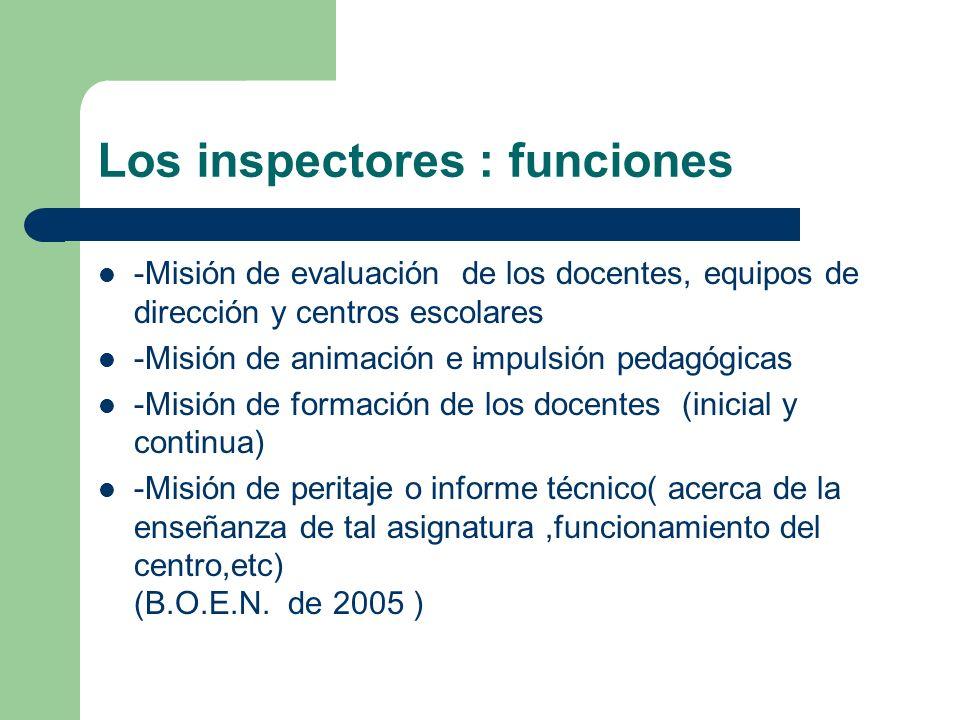 Los inspectores : funciones -Misión de evaluación de los docentes, equipos de dirección y centros escolares -Misión de animación e impulsión pedagógic