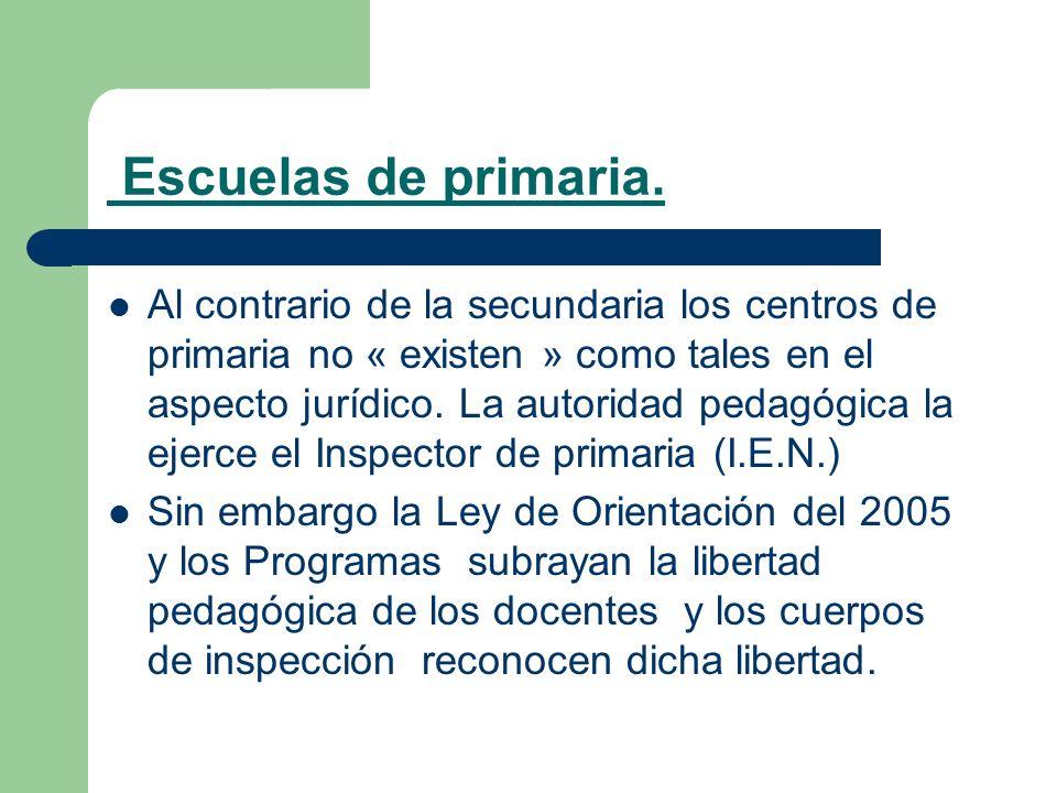Escuelas de primaria. Al contrario de la secundaria los centros de primaria no « existen » como tales en el aspecto jurídico. La autoridad pedagógica