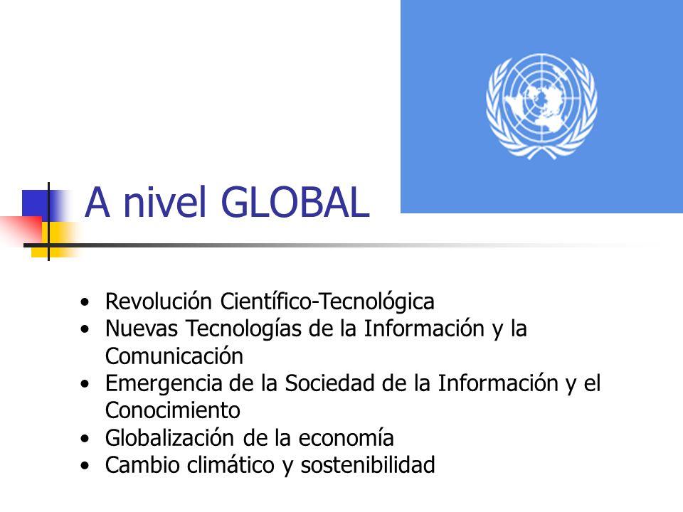 A nivel GLOBAL Revolución Científico-Tecnológica Nuevas Tecnologías de la Información y la Comunicación Emergencia de la Sociedad de la Información y