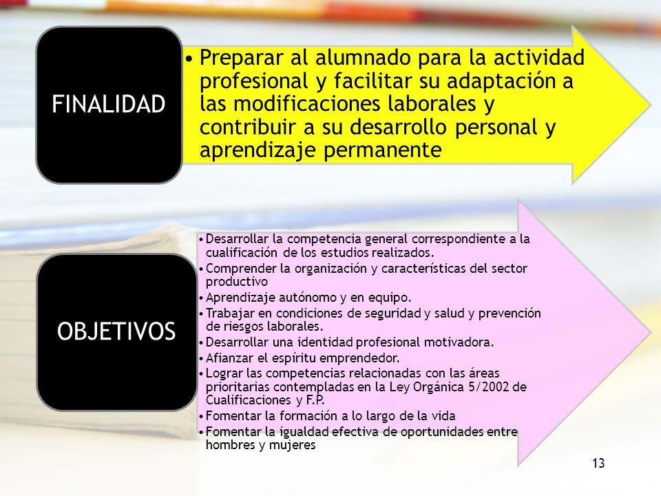 13 Preparar al alumnado para la actividad profesional y facilitar su adaptación a las modificaciones laborales y contribuir a su desarrollo personal y