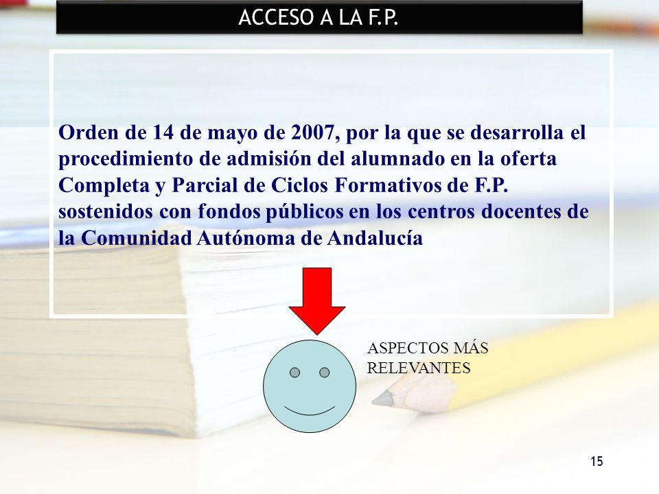 15 ACCESO A LA F.P. Orden de 14 de mayo de 2007, por la que se desarrolla el procedimiento de admisión del alumnado en la oferta Completa y Parcial de