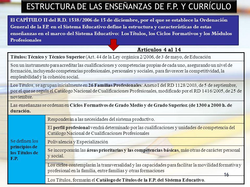 16 ESTRUCTURA DE LAS ENSEÑANZAS DE F.P. Y CURRÍCULO El CAPÍTULO II del R.D. 1538/2006 de 15 de diciembre, por el que se establece la Ordenación Genera