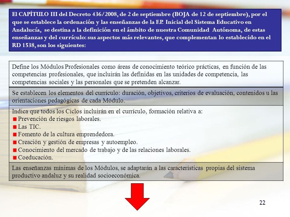22 El CAPÍTULO III del Decreto 436/2008, de 2 de septiembre (BOJA de 12 de septiembre), por el que se establece la ordenación y las enseñanzas de la F