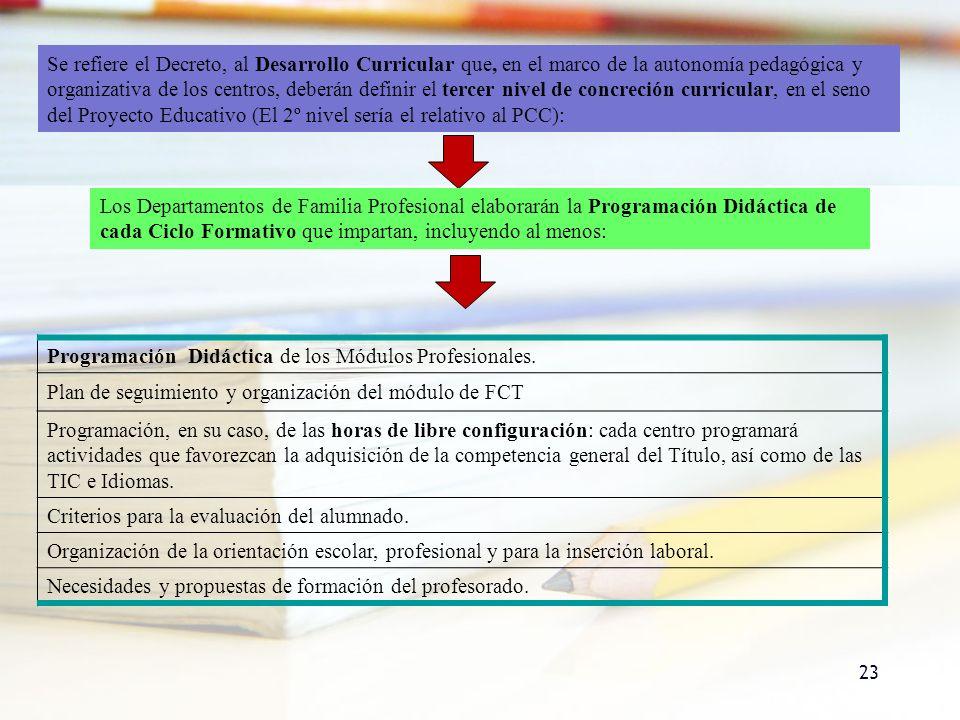 23 Se refiere el Decreto, al Desarrollo Curricular que, en el marco de la autonomía pedagógica y organizativa de los centros, deberán definir el terce