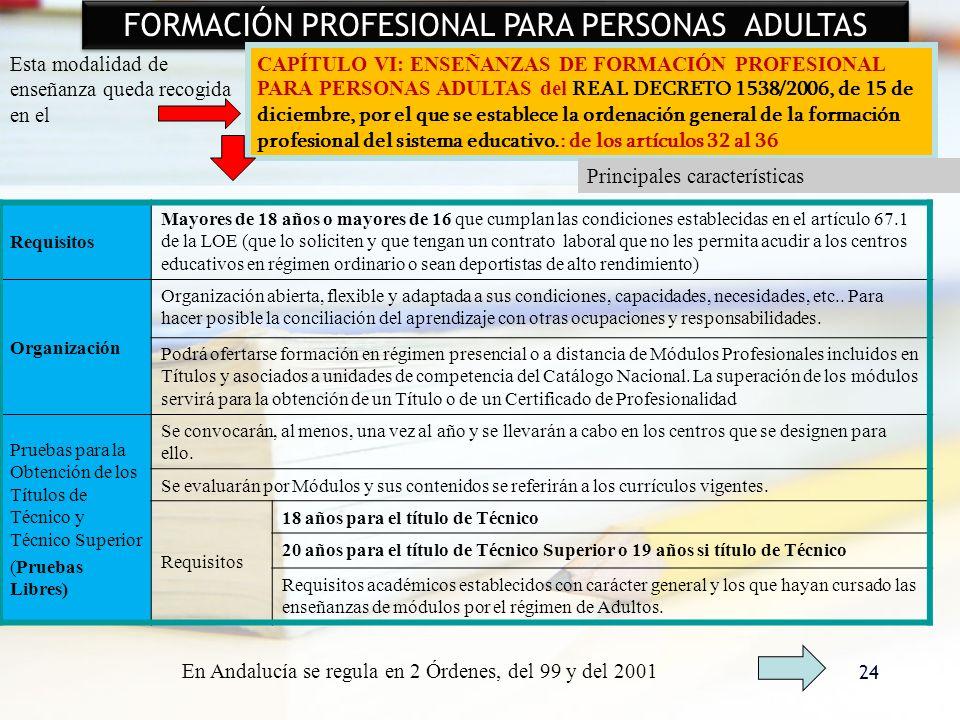 24 FORMACIÓN PROFESIONAL PARA PERSONAS ADULTAS Esta modalidad de enseñanza queda recogida en el CAPÍTULO VI: ENSEÑANZAS DE FORMACIÓN PROFESIONAL PARA