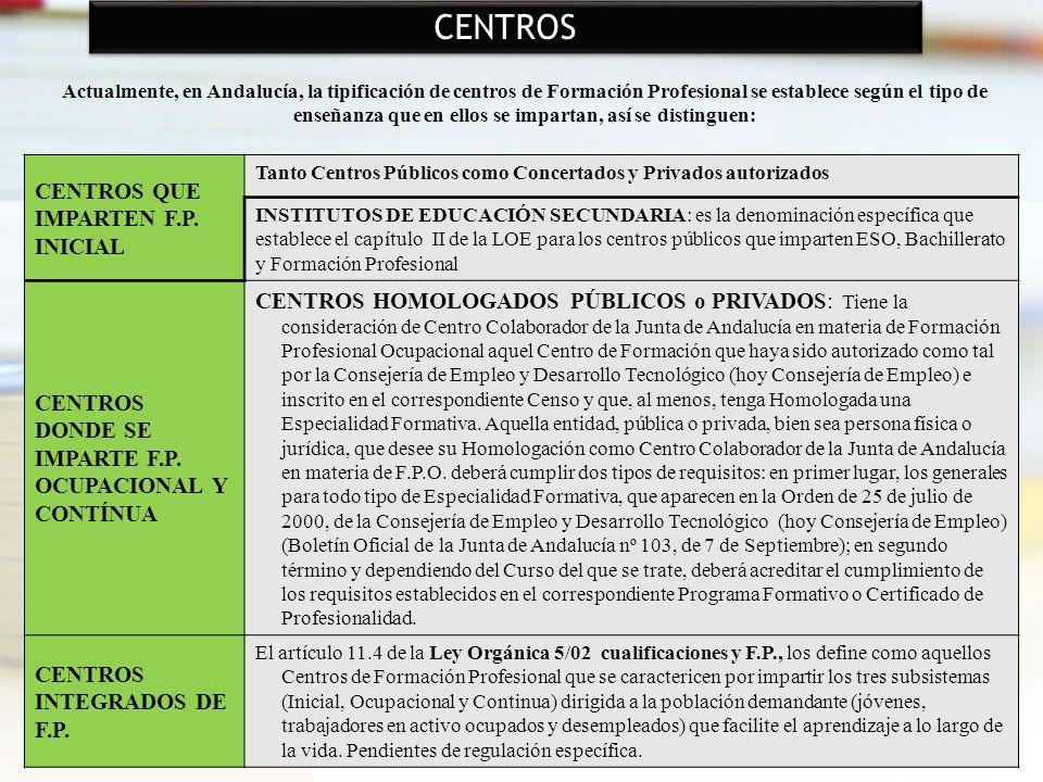 27 Actualmente, en Andalucía, la tipificación de centros de Formación Profesional se establece según el tipo de enseñanza que en ellos se impartan, as