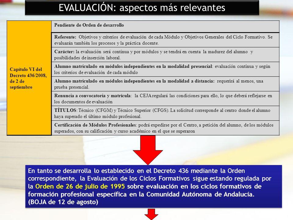 28 EVALUACIÓN: aspectos más relevantes Capítulo VI del Decreto 436/2008, de 2 de septiembre Pendiente de Orden de desarrollo Referente: Objetivos y cr