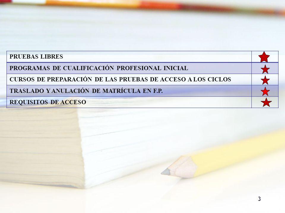 3 PRUEBAS LIBRES PROGRAMAS DE CUALIFICACIÓN PROFESIONAL INICIAL CURSOS DE PREPARACIÓN DE LAS PRUEBAS DE ACCESO A LOS CICLOS TRASLADO Y ANULACIÓN DE MA