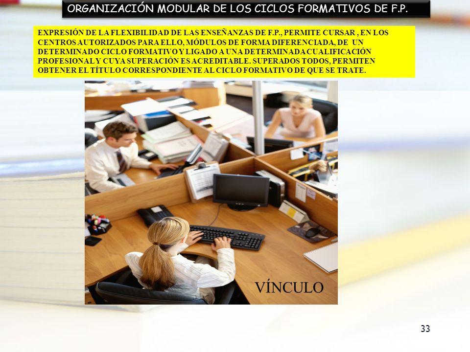33 ORGANIZACIÓN MODULAR DE LOS CICLOS FORMATIVOS DE F.P. EXPRESIÓN DE LA FLEXIBILIDAD DE LAS ENSEÑANZAS DE F.P., PERMITE CURSAR, EN LOS CENTROS AUTORI
