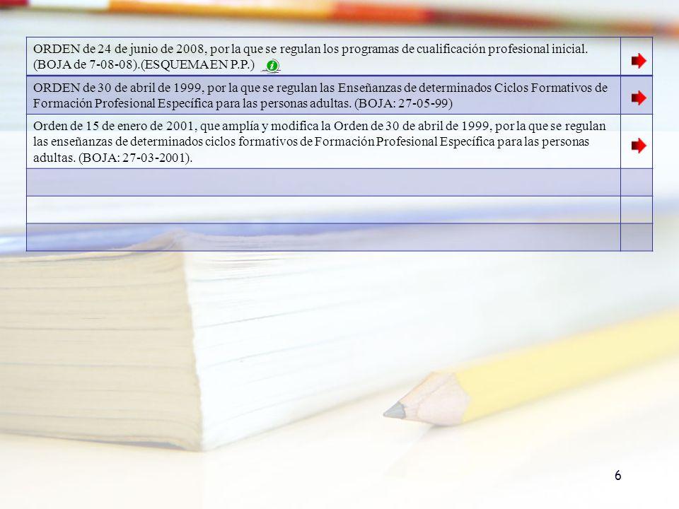 ORDEN de 24 de junio de 2008, por la que se regulan los programas de cualificación profesional inicial. (BOJA de 7-08-08).(ESQUEMA EN P.P.) ORDEN de 3