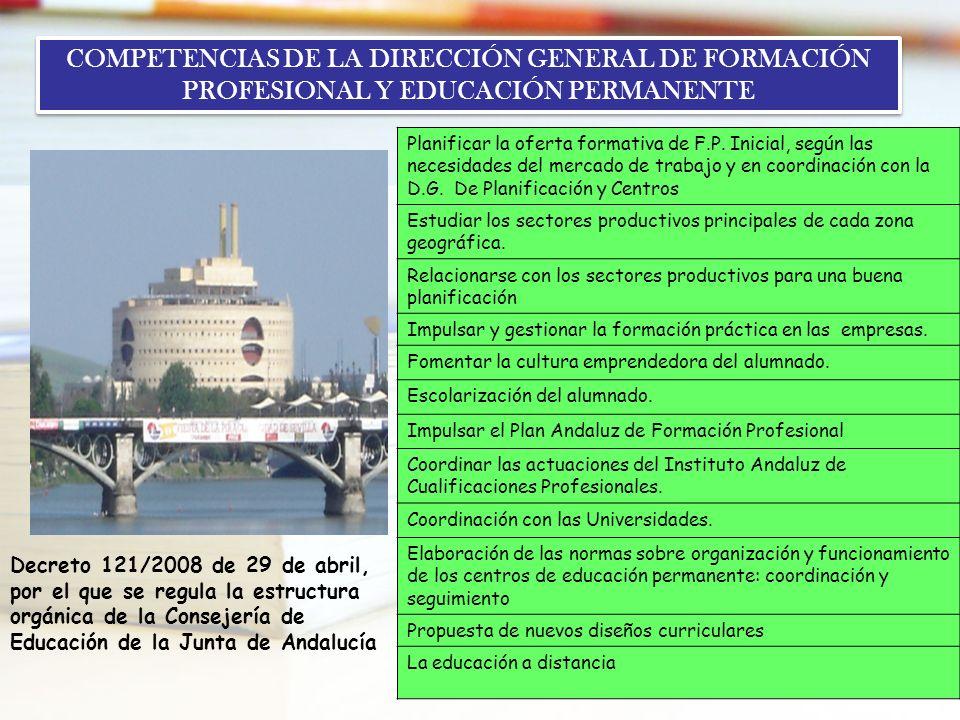 9 COMPETENCIAS DE LA DIRECCIÓN GENERAL DE FORMACIÓN PROFESIONAL Y EDUCACIÓN PERMANENTE Decreto 121/2008 de 29 de abril, por el que se regula la estruc