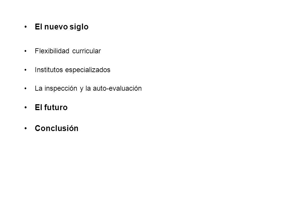 El nuevo siglo Flexibilidad curricular Institutos especializados La inspección y la auto-evaluación El futuro Conclusión