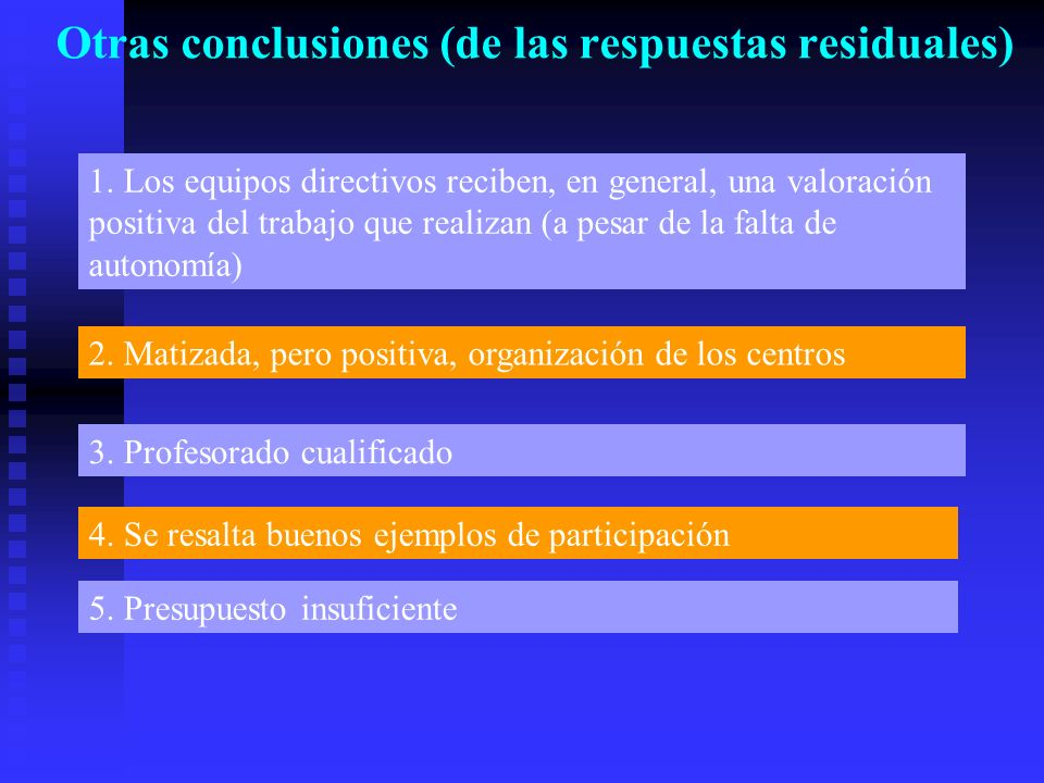 Otras conclusiones (de las respuestas residuales) 1.