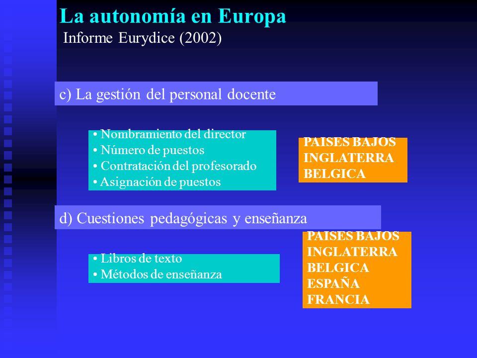 La autonomía en Europa Informe Eurydice (2002) c) La gestión del personal docente d) Cuestiones pedagógicas y enseñanza Nombramiento del director Número de puestos Contratación del profesorado Asignación de puestos Libros de texto Métodos de enseñanza PAISES BAJOS INGLATERRA BELGICA PAISES BAJOS INGLATERRA BELGICA ESPAÑA FRANCIA