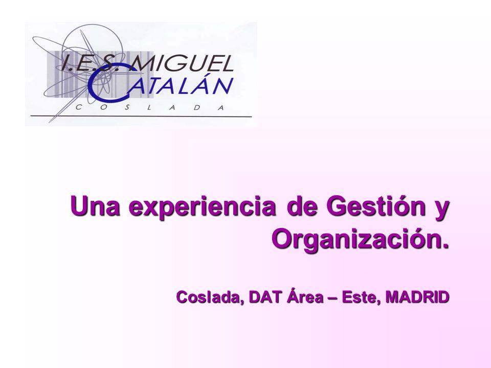 Una experiencia de Gestión y Organización. Coslada, DAT Área – Este, MADRID