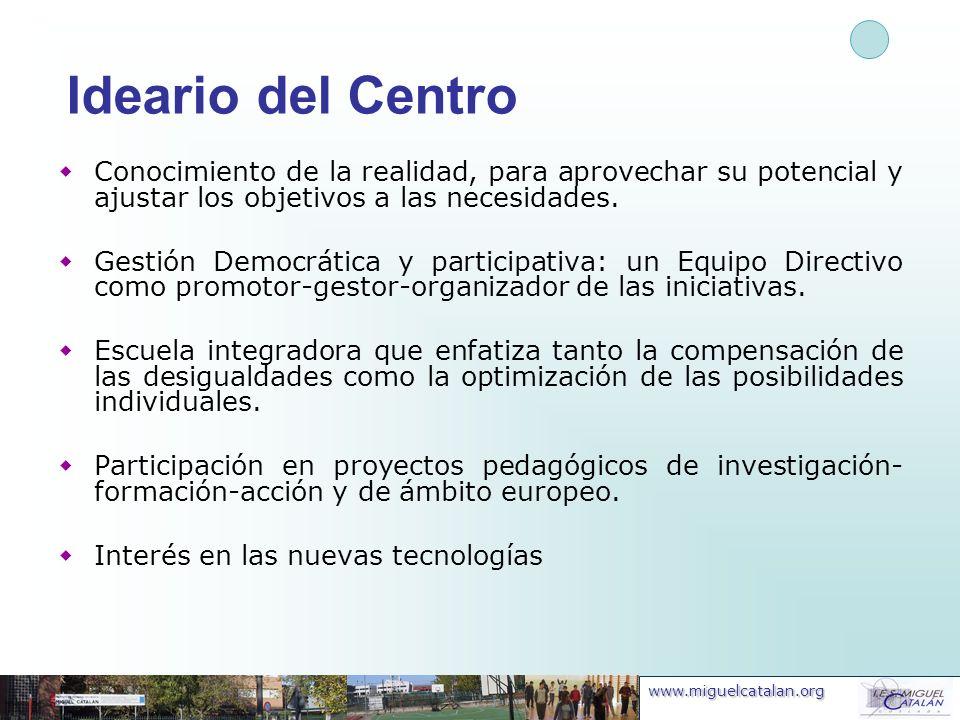 www.miguelcatalan.org Ideario del Centro Conocimiento de la realidad, para aprovechar su potencial y ajustar los objetivos a las necesidades. Gestión