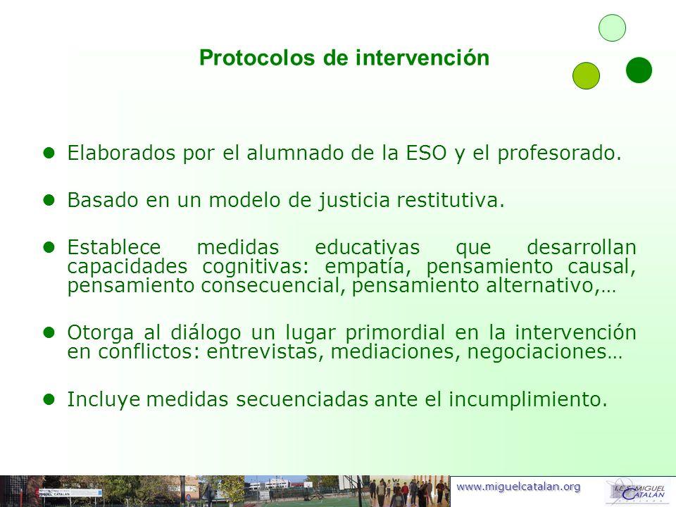 www.miguelcatalan.org Protocolos de intervención Elaborados por el alumnado de la ESO y el profesorado. Basado en un modelo de justicia restitutiva. E