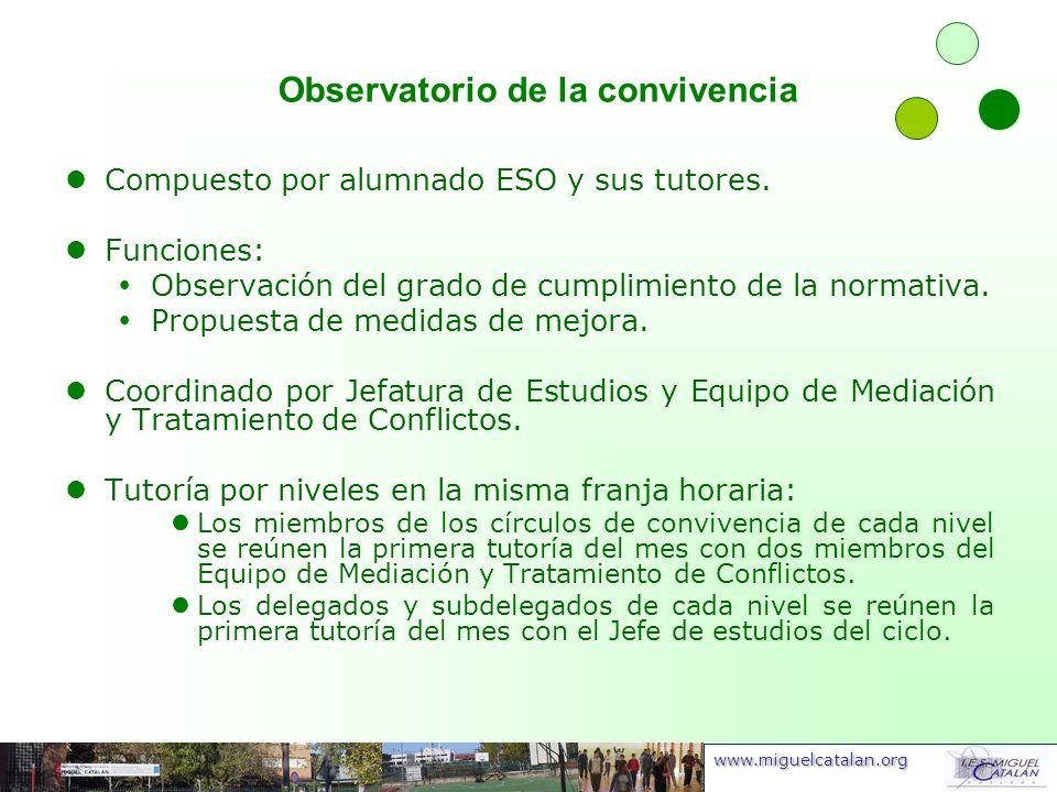 www.miguelcatalan.org Observatorio de la convivencia Compuesto por alumnado ESO y sus tutores. Funciones: Observación del grado de cumplimiento de la