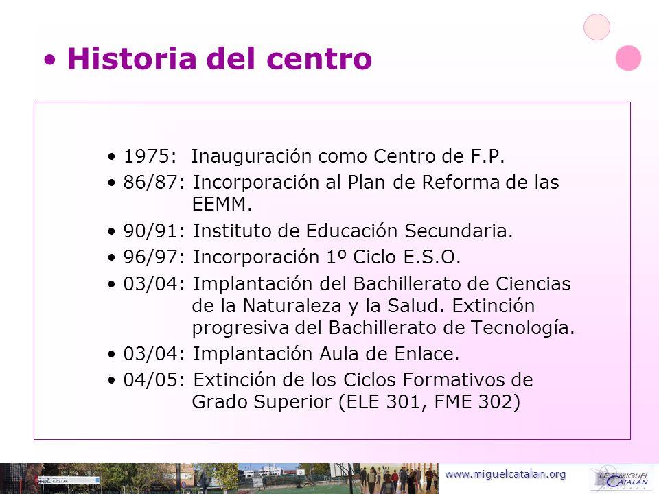 www.miguelcatalan.org 1975: Inauguración como Centro de F.P. 86/87: Incorporación al Plan de Reforma de las EEMM. 90/91: Instituto de Educación Secund