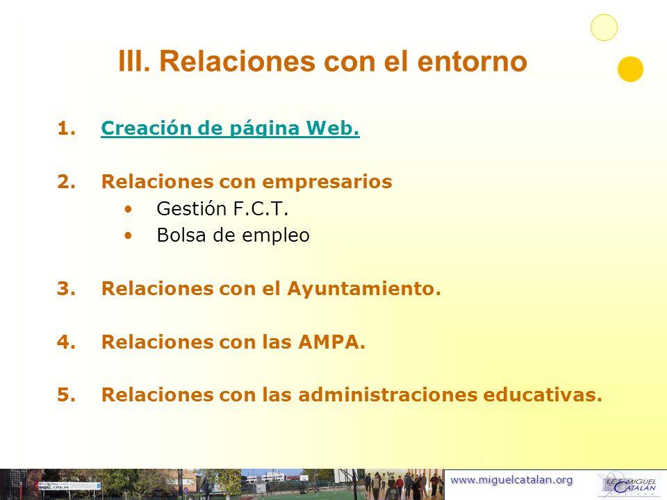 www.miguelcatalan.org III. Relaciones con el entorno 1.Creación de página Web.Creación de página Web. 2.Relaciones con empresarios Gestión F.C.T. Bols