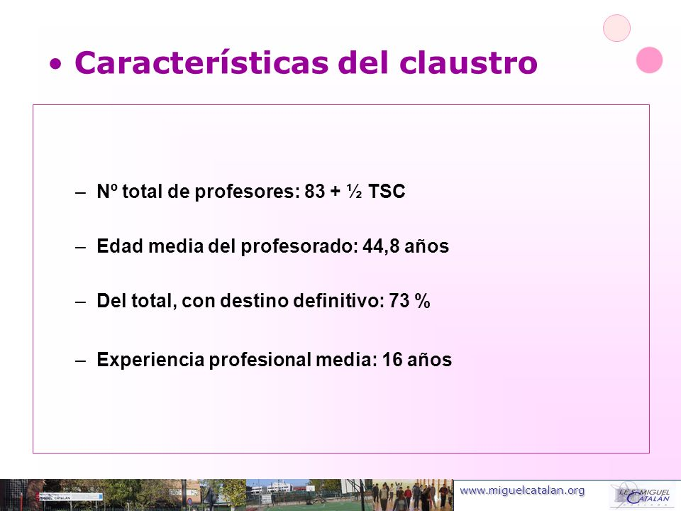 www.miguelcatalan.org Características del claustro –Nº total de profesores: 83 + ½ TSC –Edad media del profesorado: 44,8 años –Del total, con destino