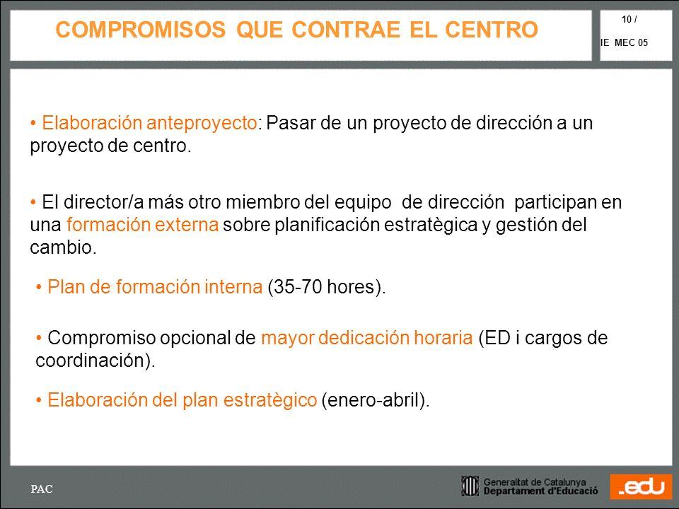 PAC IE MEC 05 10 / COMPROMISOS QUE CONTRAE EL CENTRO Elaboración anteproyecto: Pasar de un proyecto de dirección a un proyecto de centro. El director/