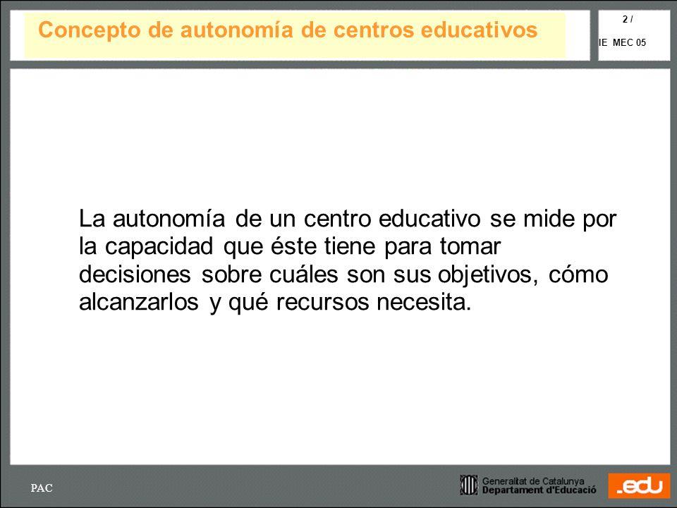 PAC IE MEC 05 2 / La autonomía de un centro educativo se mide por la capacidad que éste tiene para tomar decisiones sobre cuáles son sus objetivos, có