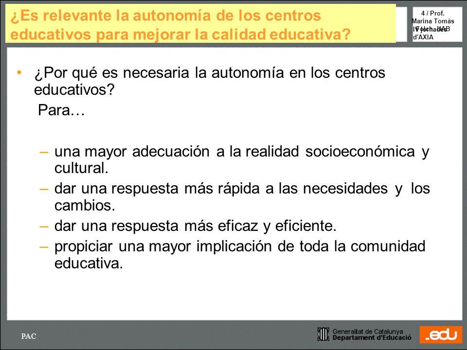 PAC IV jornades d'AXIA 4 / Prof. Marina Tomàs Folch. UAB ¿Es relevante la autonomía de los centros educativos para mejorar la calidad educativa? ¿Por